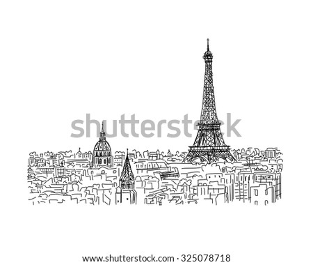 Paris, cityscape with Eiffel Tower. Sketch for your design - stock vector
