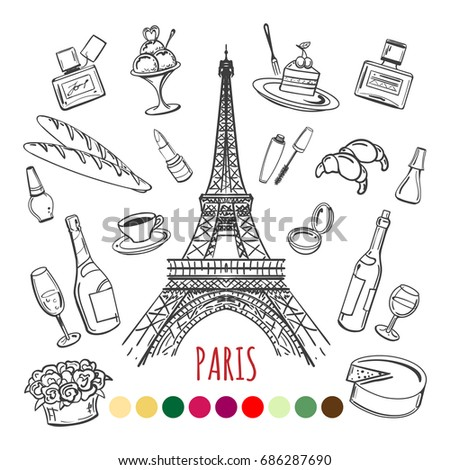 paris coloring page with color swatches vector illustration