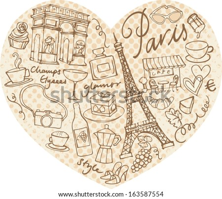 Paris doodle icons in heart shape - stock vector