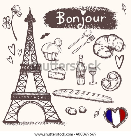 paris doodles elements hand drawn set stock vector. Black Bedroom Furniture Sets. Home Design Ideas