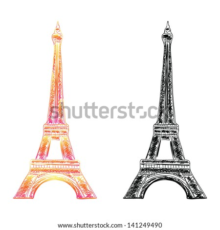 Paris Eiffel tower hand drawn vector isolated design - stock vector