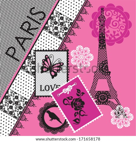 Paris eiffel tower invitation card background vector illustration - stock vector