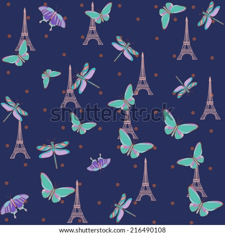 Paris Eiffel Tower pattern with butterflies. - stock vector