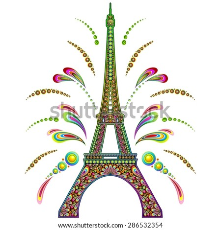 Paris Eiffel Tower Psychedelic - stock vector