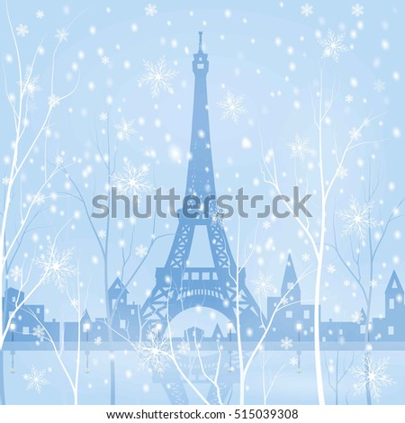 Paris, Eiffel tower, snowy winter background, vector illustration
