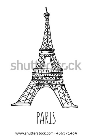 Paris, Eiffel Tower vector illustration. Hand drawn sketch. France. World landmark