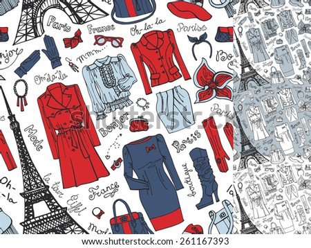 Paris FashionClothing Accessories Hand Drawing Seamless Patternbackgroundwallpaper Set