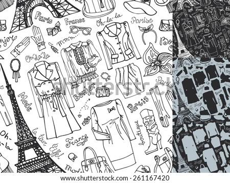 Paris Fashion.Clothing , accessories Hand drawing  seamless pattern,background,wallpaper set.Fashion wear.Doodle Vector ilustration in sketch style.French Inscriptions Hello,fashion,shop,Eiffel tower - stock vector