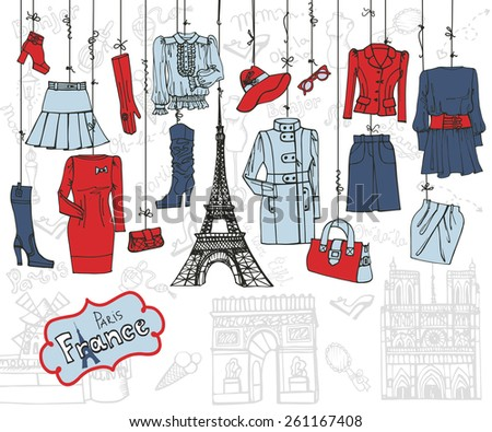 Paris Fashion.Clothing and accessories hanging on ropes. Hand drawing set.Woman fashion wear.Doodle Vector illustration in sketch style.French Inscriptions Hello,fashion,shop,Eiffel tower - stock vector