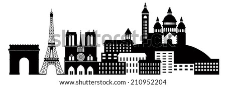 Paris France City Skyline Outline Silhouette Black Isolated on White Background Panorama Vector Illustration - stock vector