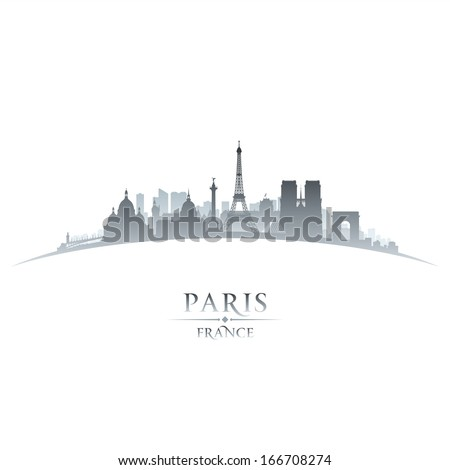 Paris France city skyline silhouette. Vector illustration - stock vector