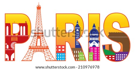 Paris France City Skyline Text Outline with Eiffel Tower Color with Reflection Isolated on White Background Panorama Vector Illustration - stock vector