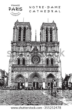 Paris - France. Notre Dame ?athedral. Vector illustration. - stock vector
