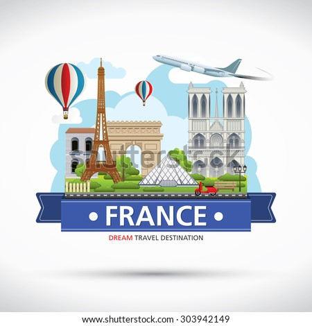 parisfrance vector travel destinations icon set stock. Black Bedroom Furniture Sets. Home Design Ideas