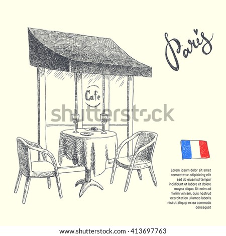 Paris. graphic illustration of a cafe