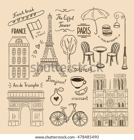 Paris hand drawn illustrations. France vintage doodle icons and symbols