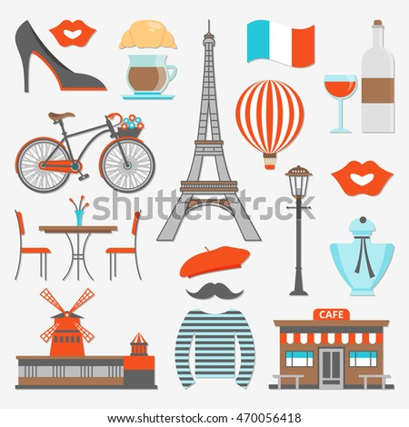 Paris icon set distinctive features of the city and the country as a whole vector illustration