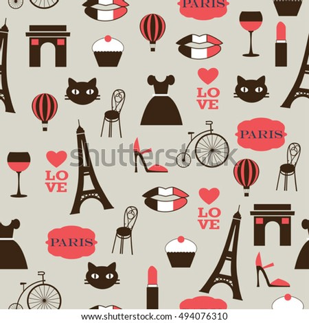 paris icons seamless  vector pattern