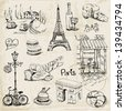 Paris Illustration Set - for design and scrapbook - in vector - stock vector