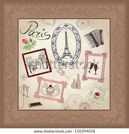 Paris illustration set. Love paris frame vintage collection. French cafe  - stock vector