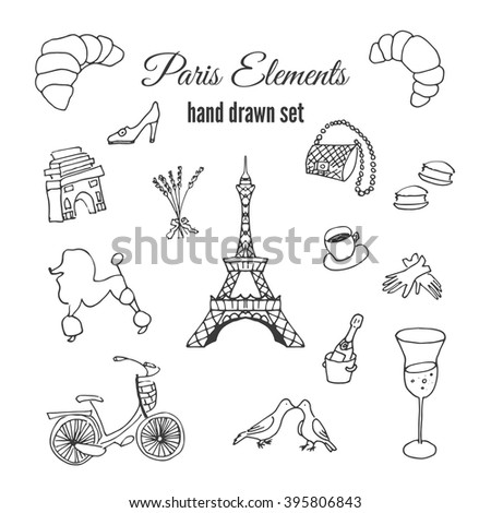 Paris illustrations. Hand drawn france elements. Doodle elements on Paris theme. Fashion vector designs. Eiffel tower illustration. French bicycle illustration. Pastry from France. Elegance collection