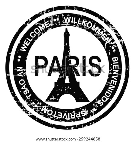 Paris ink stamp grunge style. Vector illustration on white background. - stock vector