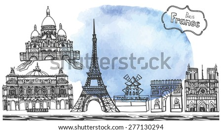 Paris landmark,lettering set,Watercolor stein.Hand drawn doodle sketchy.Notre Dame Cathedral,Eiffel tower,Sacre Coeur,Grand Opera,arc de Triomphe,Moulin Rouge.Horizontal Vector