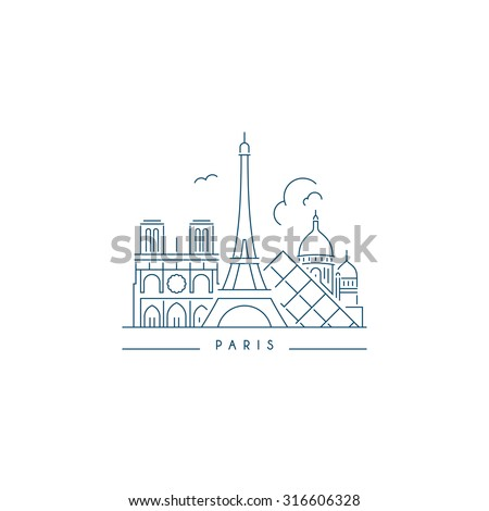 Paris Landmark. Line style  - stock vector