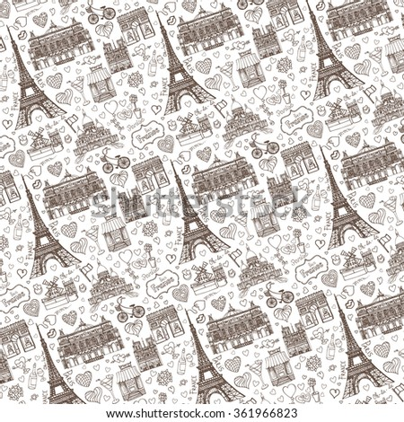 Paris Landmarklove Pattern BackgroundValentines Daywedding Designhearts Vintage