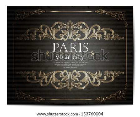 Paris lettering over vintage floral background vector - stock vector