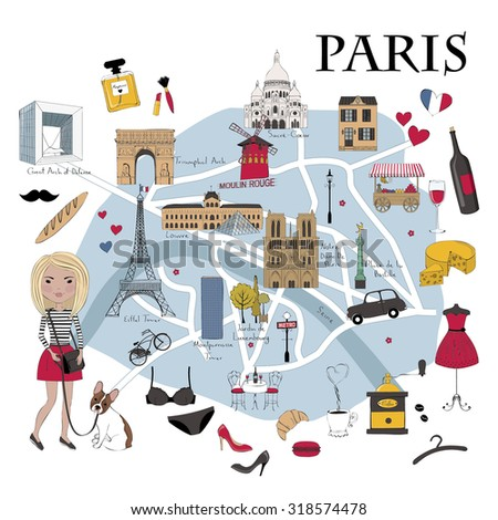Paris map with famous landmarks - stock vector