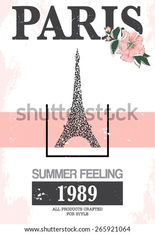 Paris print slogan. For t-shirt or other uses,in vector. - stock vector