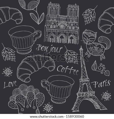 Paris, seamless - stock vector