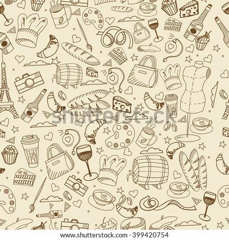 Paris seamless line art design vector illustration. Separate objects. Hand drawn doodle design elements. - stock vector