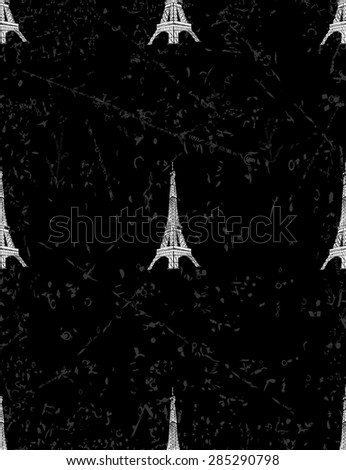 Paris seamless pattern with Eiffel tower. - stock vector