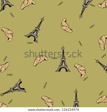 Paris seamless pattern with eiffel tower and croissant. Can be used for wallpaper, pattern fills, web page background,surface textures, fabric. - stock vector
