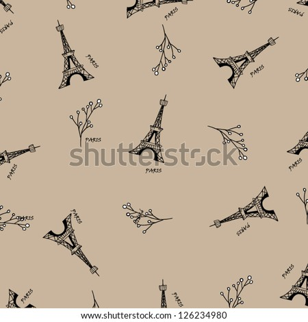 Paris seamless pattern with eiffel tower. Can be used for wallpaper, pattern fills, web page background,surface textures, fabric. - stock vector