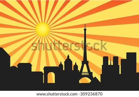 Paris skyline behind  sun ray background, Vector illustration - stock vector