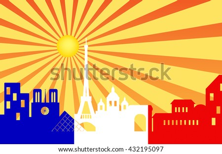 Paris skyline behind sun ray with French flag , Vector illustration