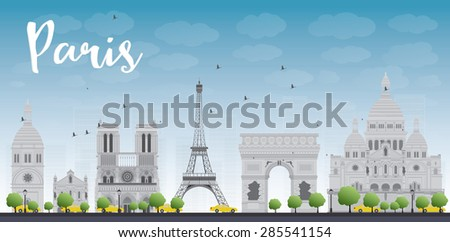 Paris skyline with grey landmarks and blue sky. Vector illustration. Business travel and tourism concept with historic buildings. Image for presentation, banner, placard and web site. - stock vector