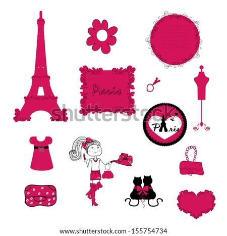 paris. small details in pink. vector - stock vector