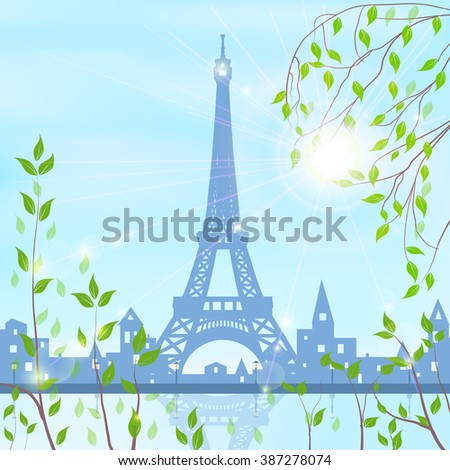 Paris, spring, cityscape on blue sky and sun background, birch and flowering shrubs in the foreground,  vector illustration - stock vector
