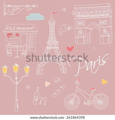 Paris symbols, postcard, hand drawn, vector illustration - stock vector