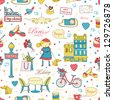 Paris travel seamless pattern, travel background. Endless pattern can be used for wallpaper, pattern fills, web page background, surface textures. - stock