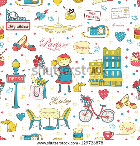 Paris travel seamless pattern, travel background. Endless pattern can be used for wallpaper, pattern fills, web page background, surface textures. - stock vector