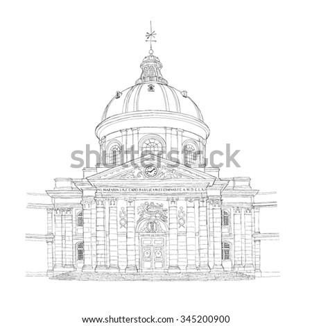 Paris urban sketch - Institut de France - stock vector