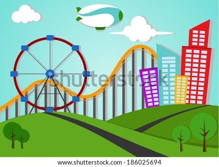 Park And Metro City Applique Landscape - stock vector