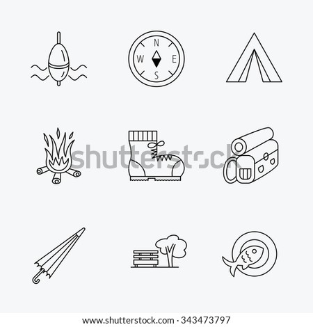 Park, fishing float and hiking boots icons. Compass, umbrella and bonfire linear signs. Camping tent, fish dish and tree icons. Linear black icons on white background.