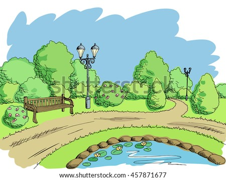 Park graphic art color landscape sketch illustration vector