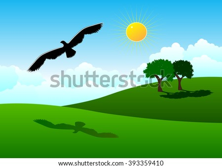 park. Green hills, couple of trees and a black bird against the blue sky and clouds - stock vector